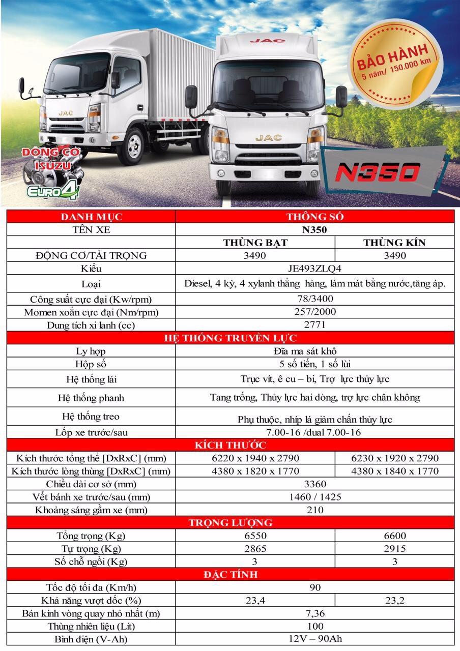 Thông số kỹ thuật xe tải JAC 3t5